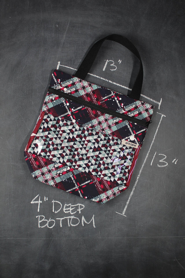 View Ewe Tote Bag in Christmas Plaid