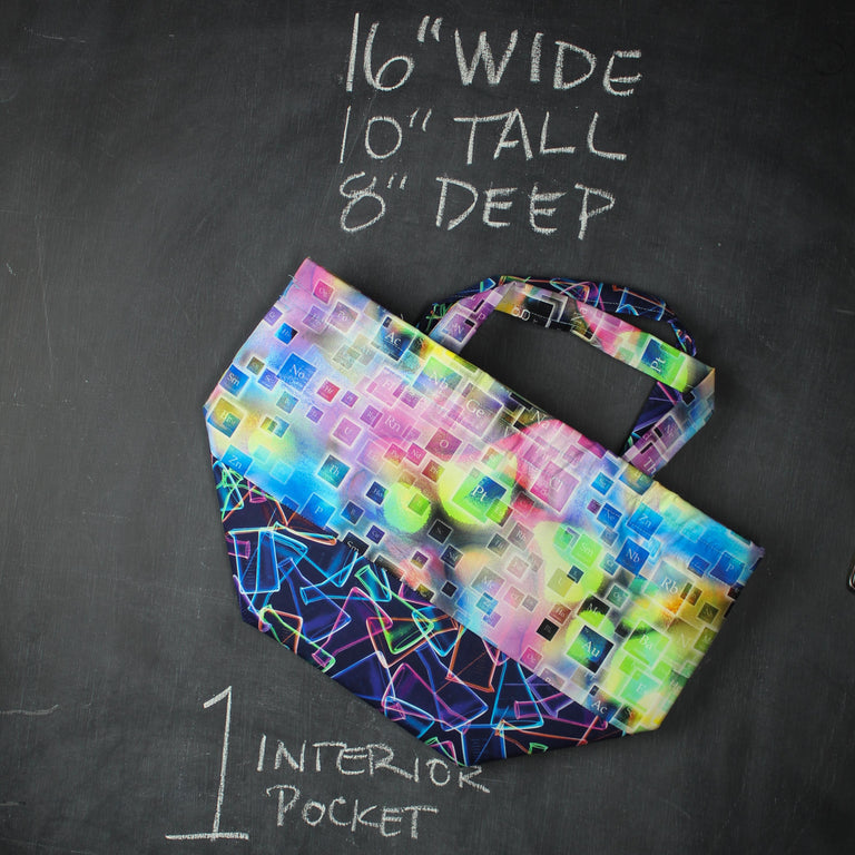 Bucket Tote Bag in Deconstructed Periodic Table 2.0
