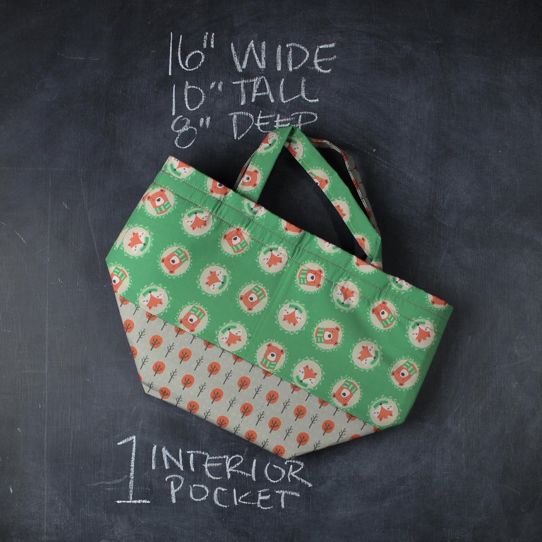 Bucket Tote Bag in Forest Cameos