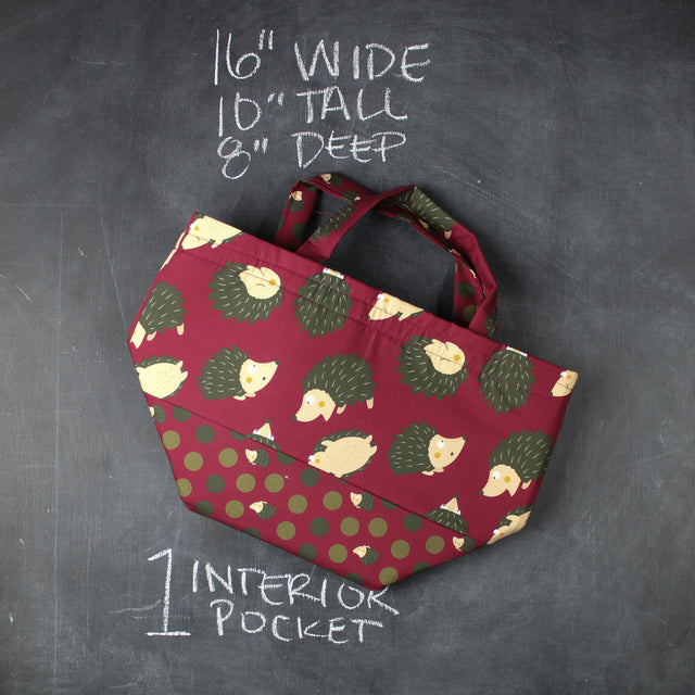 Bucket Tote Bag in Cranberry Hedgehogs