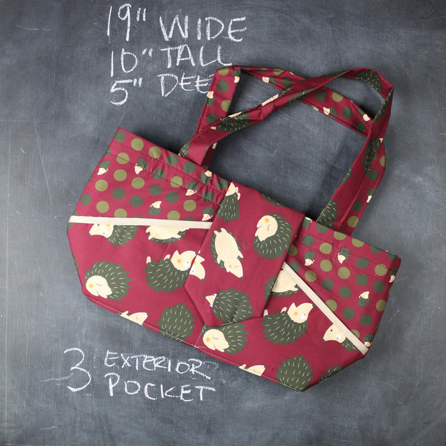 Ewesful Tote Bag in Cranberry Hedgehogs
