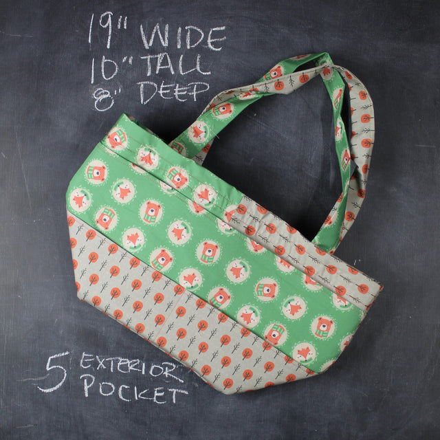 Barrel Tote Bag in Forest Cameos