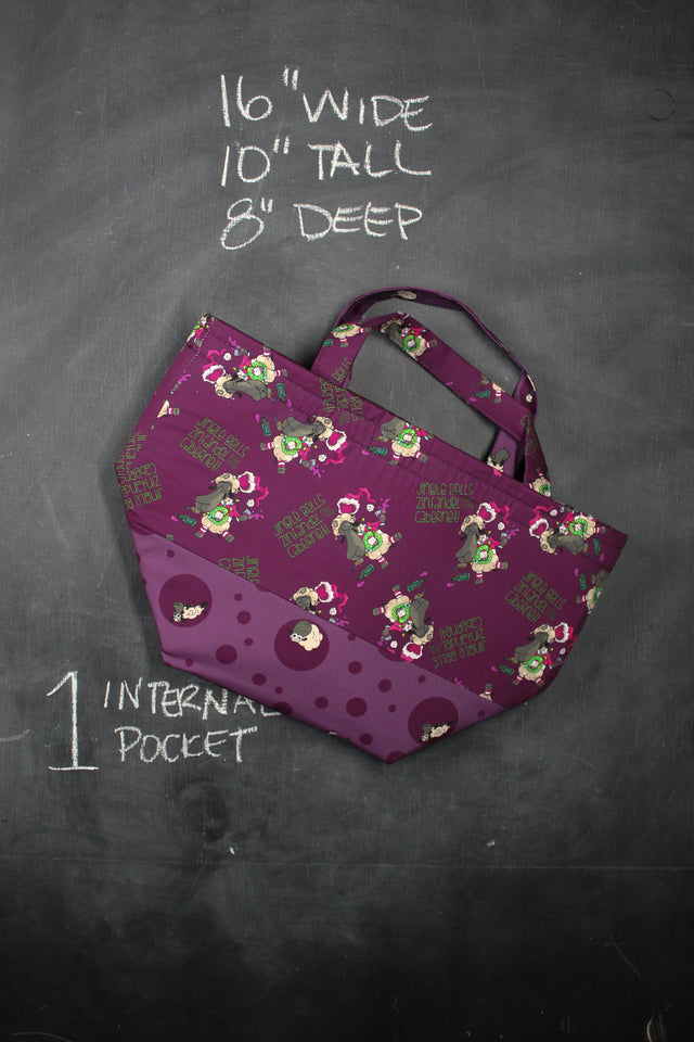 "Bucket Tote in Demi ""Jingle Bells, Zinfandel, Need More Cabernet!"""
