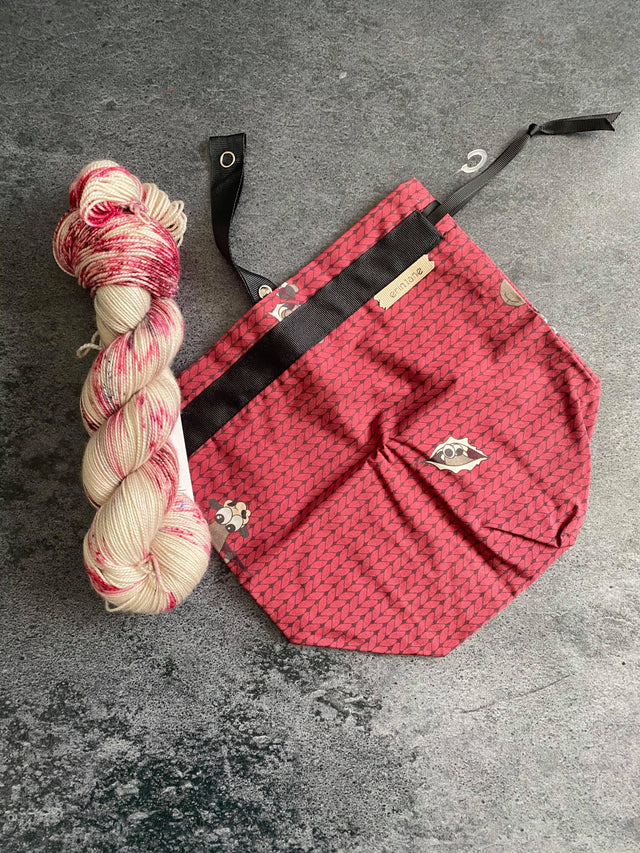 Burgundy Sock Project Bag Pairing with Destination Yarn's Ice Cream Shop
