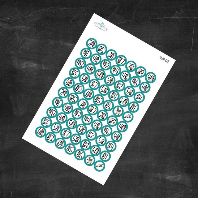 Planner Stickers Counting Sheeple in Teal #34-66