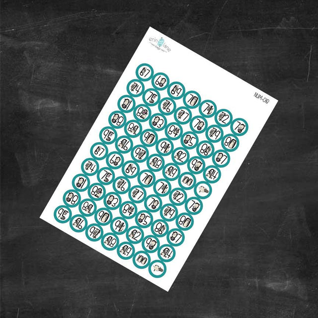 Planner Stickers Counting Sheeple in Teal #67-100