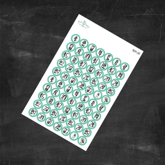 Planner Stickers Counting Sheeple in Aqua #1-33