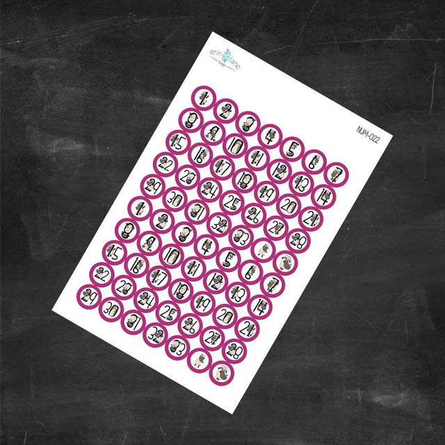 Planner Stickers Counting Sheeple in Fuchsia #1-33