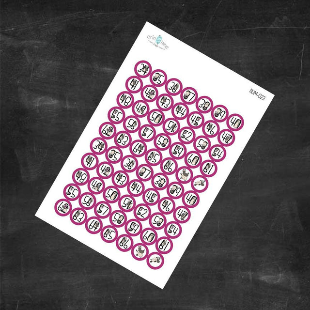 Planner Stickers Counting Sheeple in Fuchsia #34-66