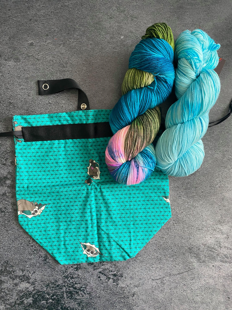 Teal Sock Project Bag Pairing with Destination Yarn Ohana Shawl Kit