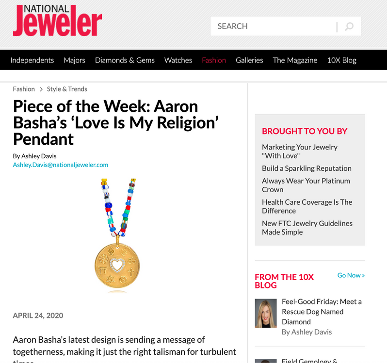 Piece of the Week: Aaron Basha's 'Love Is My Religion' Pendant