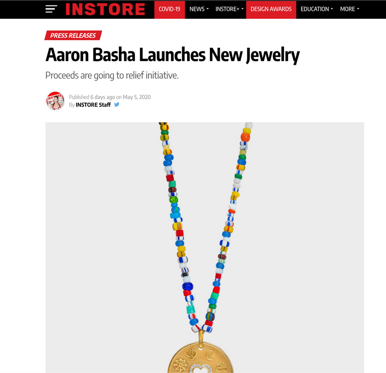 Aaron Basha Launches New Jewelry Proceeds are going to relief initiative.