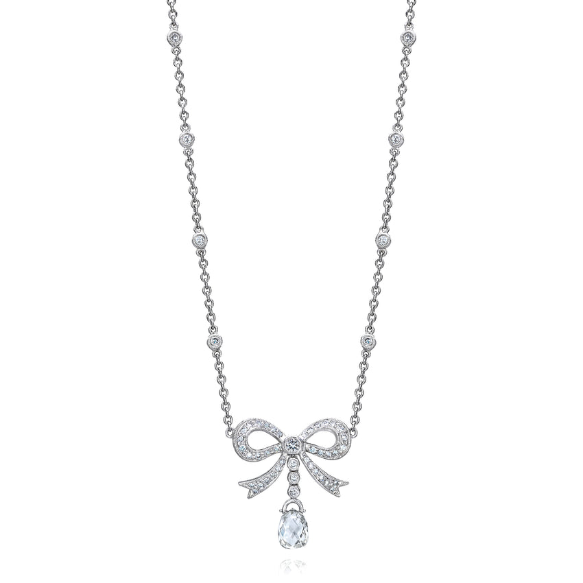 Diamond Necklace with Pave Bow and Briolette Drop