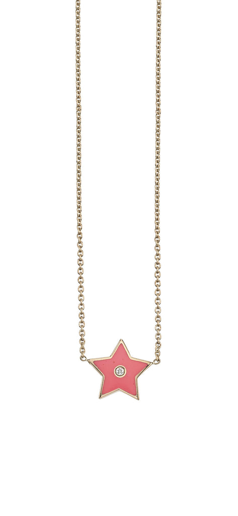 18k Yellow Gold and Enamel Star Charm With Diamond on Each Side