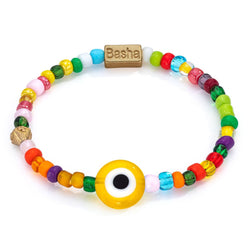 Aaron Basha Men's Yellow Beaded Stretch Bracelet