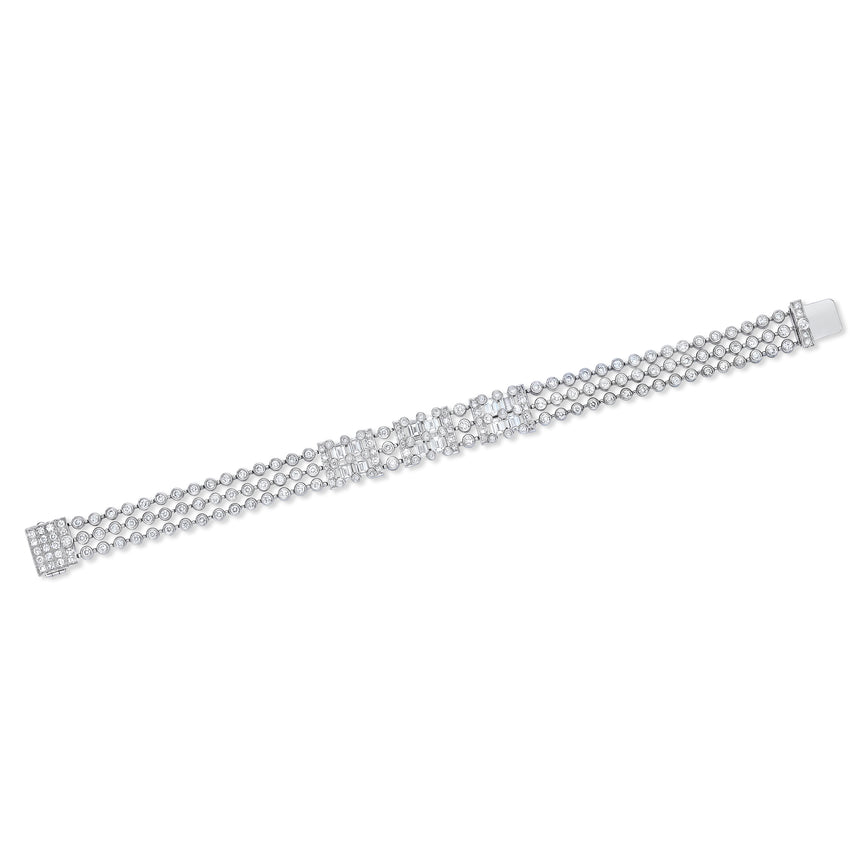 Emerald Cut Diamond and Platinum Bracelet