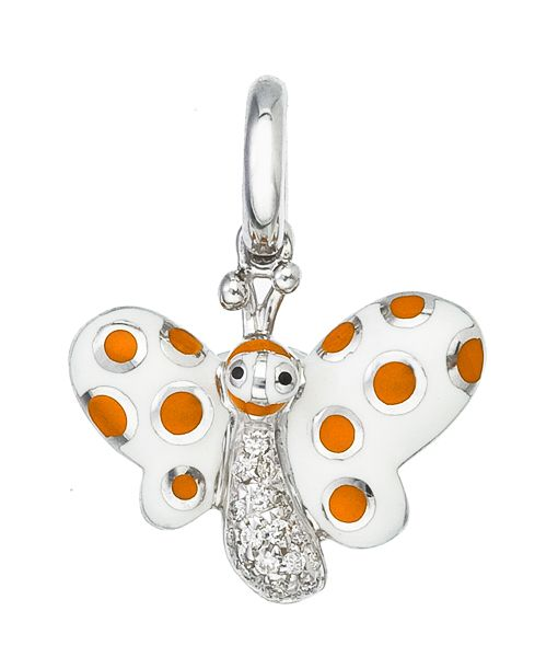 Butterfly with Orange Polka Dots