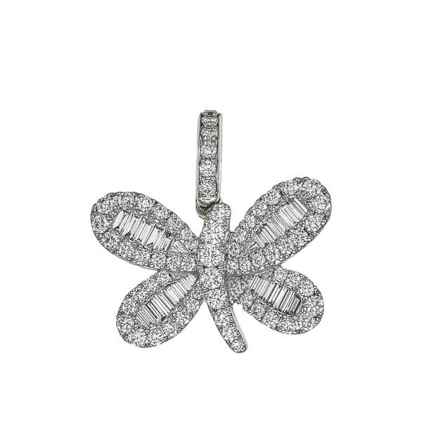 Butterfly Charm with Baguette Diamonds