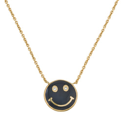 18K Yellow Gold Enamel Smiley Face