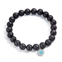 Aaron Basha Ebony Beaded Bracelet with Evil Eye