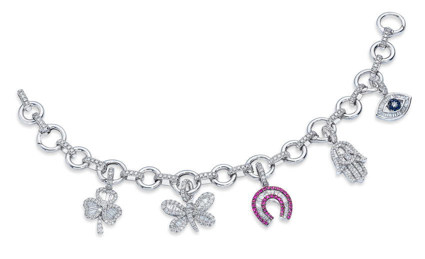 18K Baguette Diamond Charms on Diamond Bracelet - Priced Individually