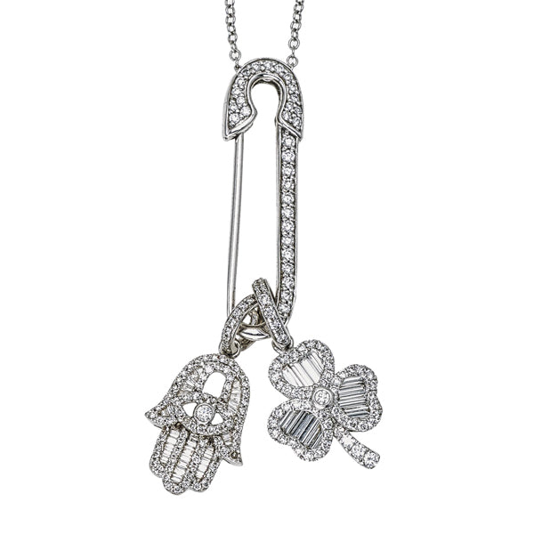 Pave Diamond Safety Pin Necklace with Medium Baguette Hamsa and Clover Charm