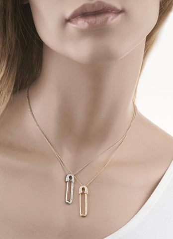 18k Rose Gold Safety Pin on Chain