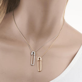 18k Yellow Gold Safety Pin on Chain
