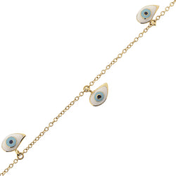 18K Floating Evil Eye Bracelet with Four Evil Eyes