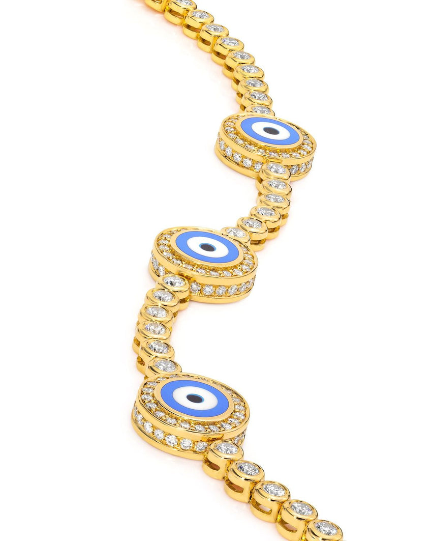 18K Yellow Gold Diamond Light Blue Evil Eye Bracelet; 2.4 ct.