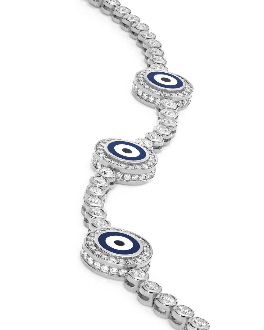 18K White Gold Diamond Navy Blue Evil Eye Bracelet; 2.4 ct.