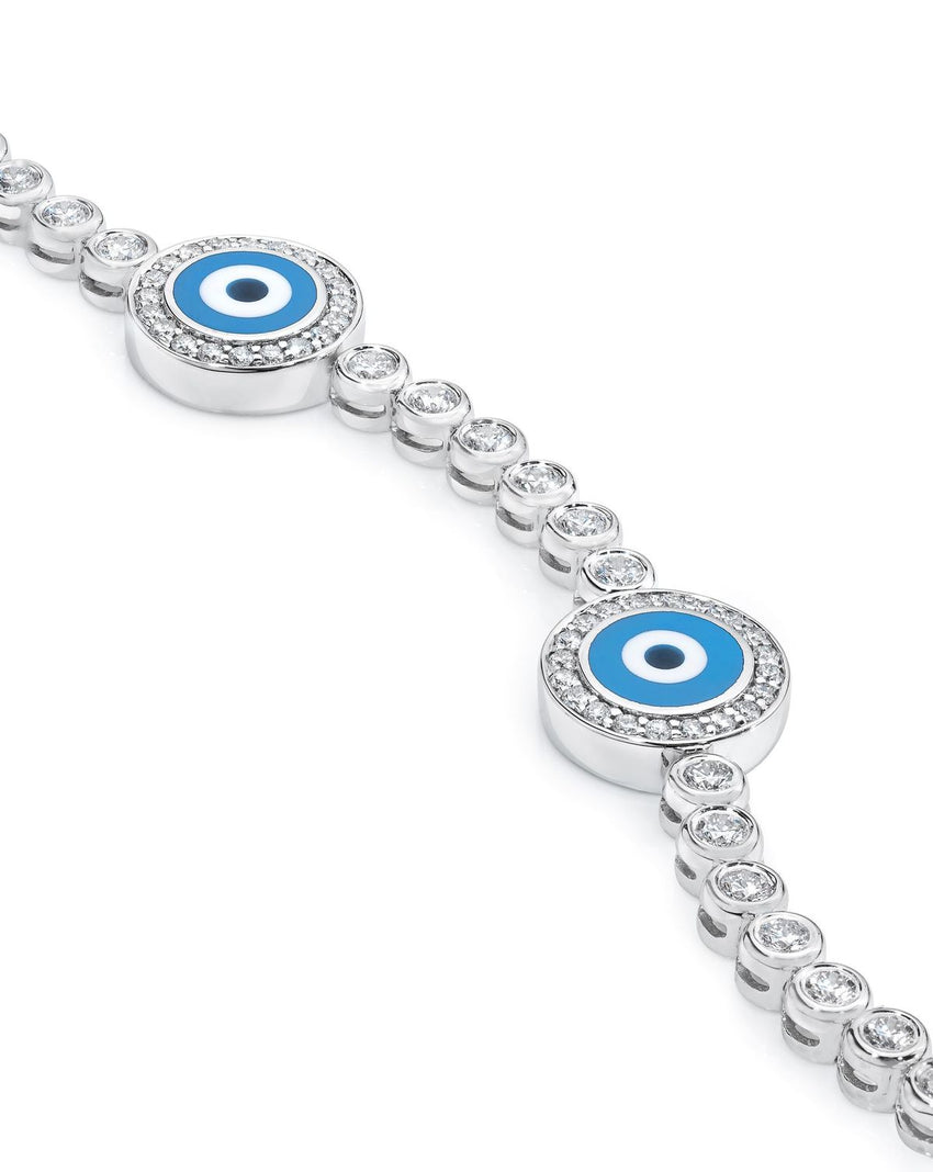 18K White Gold Diamond Light Blue Evil Eye Bracelet; 1.9 ct. -Back in Stock January 2021