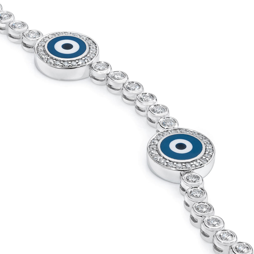 18K White Gold Diamond Navy Blue Evil Eye Bracelet; 1.9 ct.