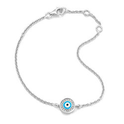 18K White Gold Light Blue Evil Eye with Diamond Rim on Single Strand Bracelet