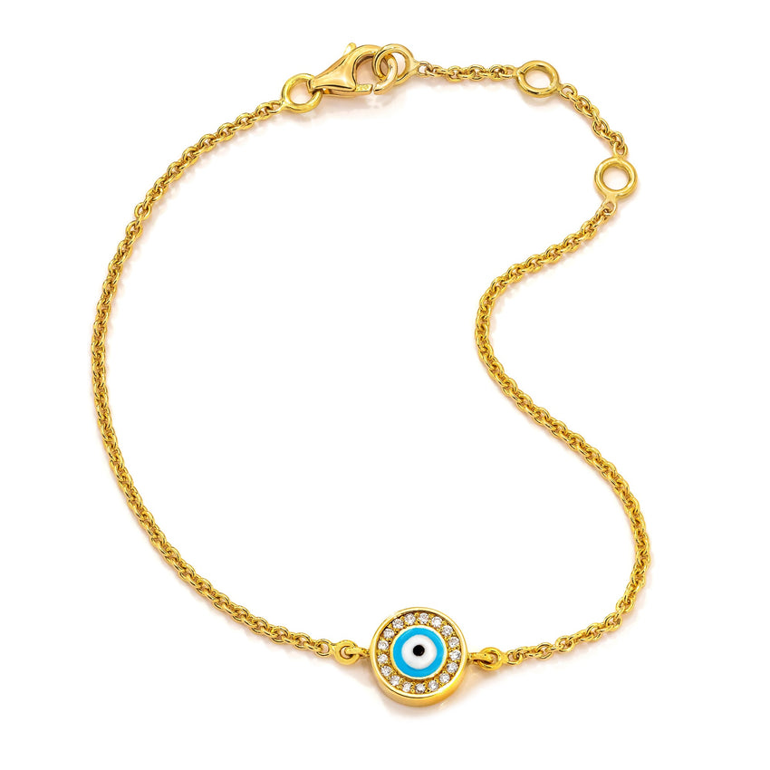 18K Yellow Gold Light Blue Evil Eye with Diamond Rim on Single Strand Bracelet