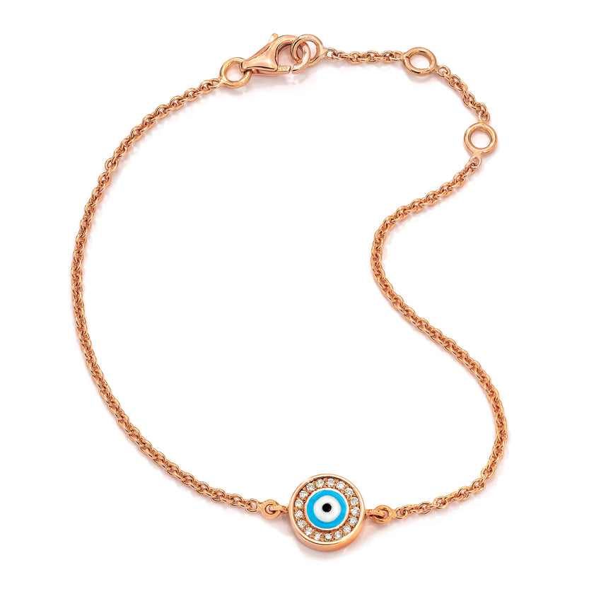 18K Rose Gold Light Blue Evil Eye with Diamond Rim on Single Strand Bracelet