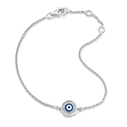 18K White Gold Navy Blue Evil Eye with Diamond Rim on Single Strand Bracelet