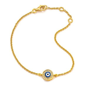 18K Yellow Gold Navy Blue Evil Eye with Diamond Rim on Single Strand Bracelet