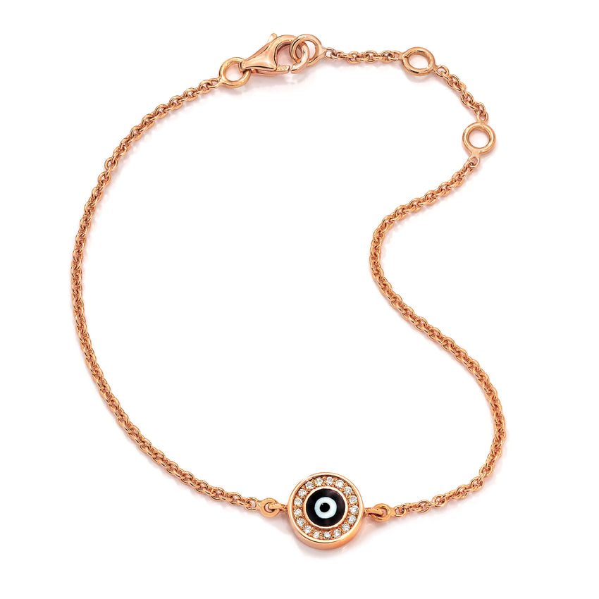 18K Rose Gold Navy Blue Evil Eye with Diamond Rim on Single Strand Bracelet