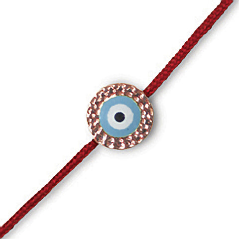 Hammered Gold Evil Eye on Red Cord