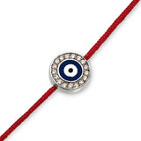 18K Navy Blue Evil Eye with Diamonds Red Cord