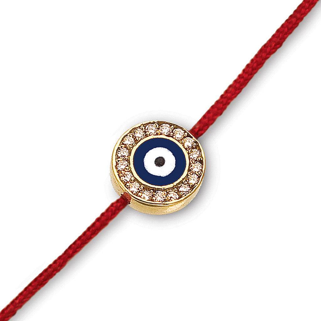 Navy Evil Eye with Diamonds Red Cord