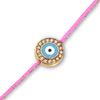 Evil Eye with Diamonds on a Pink Cord