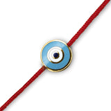 18K Round Light Blue Enamel Evil Eye on Red Cord