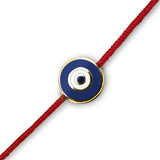 18K Round Navy Blue Enamel Evil Eye on Red Cord