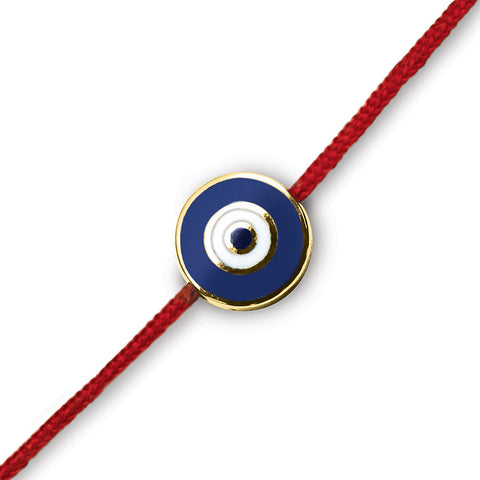 Navy Round Evil Eye on a Red Cord