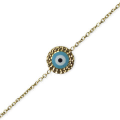 Hammered Gold Evil Eye Bracelet
