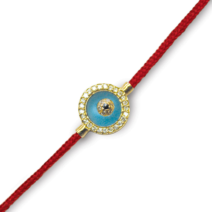 Blue Topaz Evil Eye with Diamonds Red Cord
