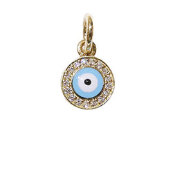 Round Evil Eye Small Diamond Rim