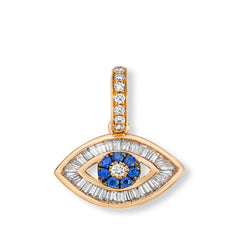 Baguette Diamond Evil Eye Charm in Rose Gold with Blue Sapphires